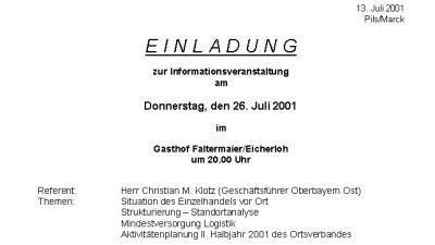 Infoveranstaltung am 26. Juli 2001 im Gasthof Faltermaier